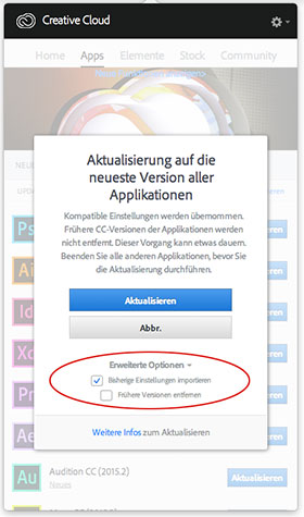 Screenshot Adobe Creative Cloud update