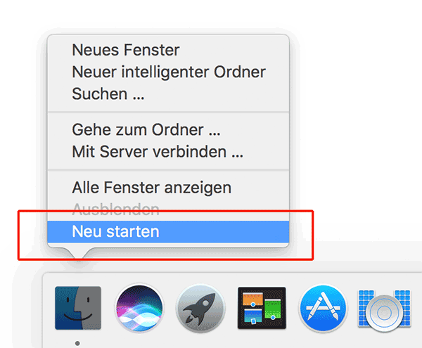 Finder Neustart Screenshot