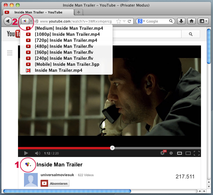 Screenshot DownloadHelper YouTube