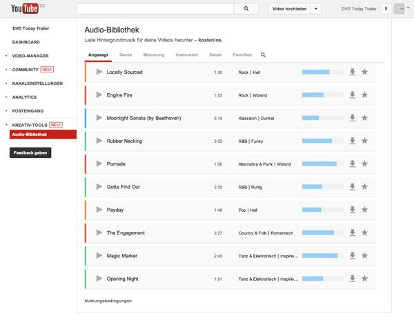 Screenshot YouTube Audio-Bibliothek