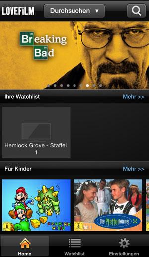 Screenshot Lovefilm iPhone App