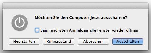 OS X Ausschaltdialog