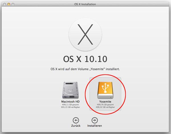 Screenshot OS X 10.10 Installation