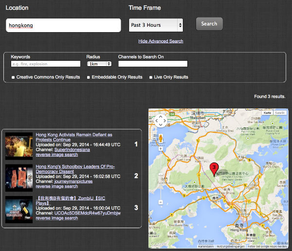 Screenshot YouTube Geo Search