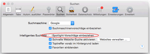 Screenshot Safari Einstellungen Spotlight