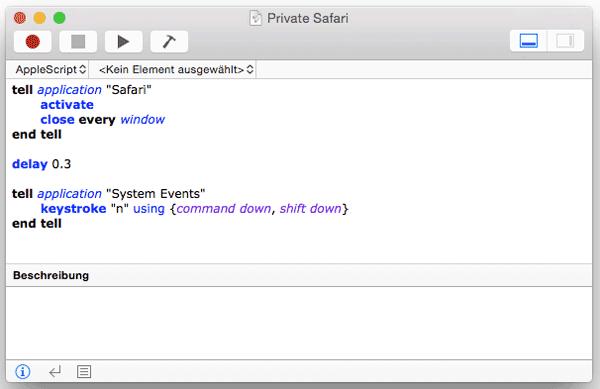 Screenshot Script-Editor Safari mit privatem Fenster öffnen