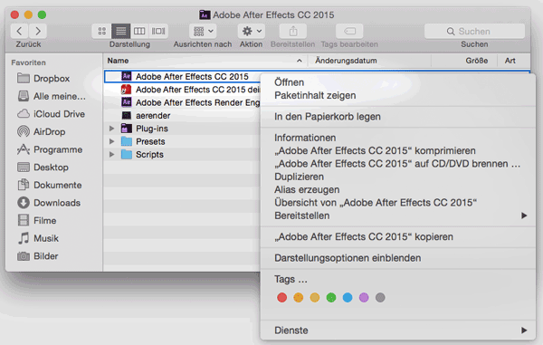 Screenshot After Effects CC 2015 auf Englisch