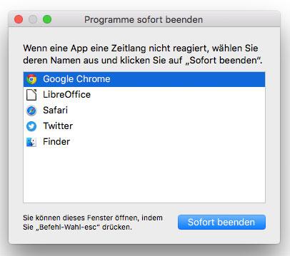 OS X Screenshot Programme sofort beenden
