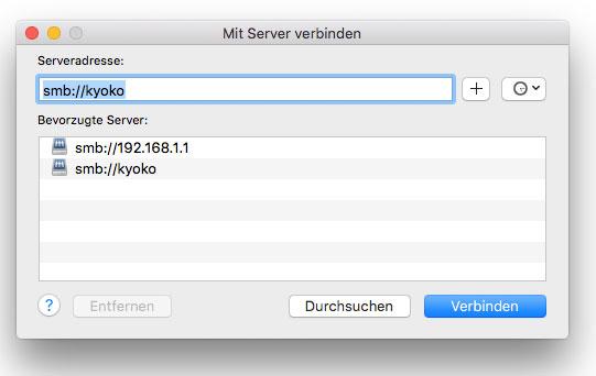 OS X Screenshot Mit Server verbinden