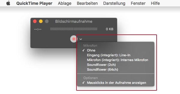 Screenshot Quicktime Bildschirmaufnahme Optionen