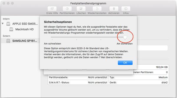 Festplatten sicher löschen - Screenshot