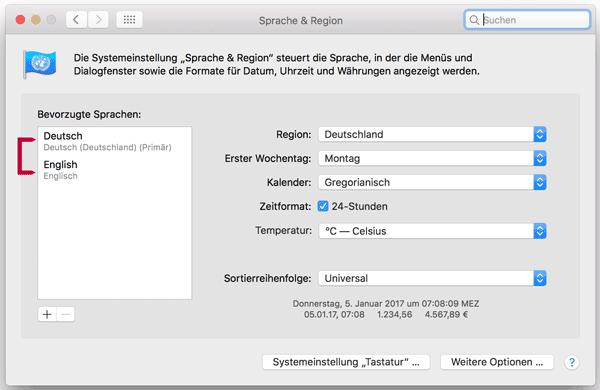 Screenshot macOS Spracheinstellungen