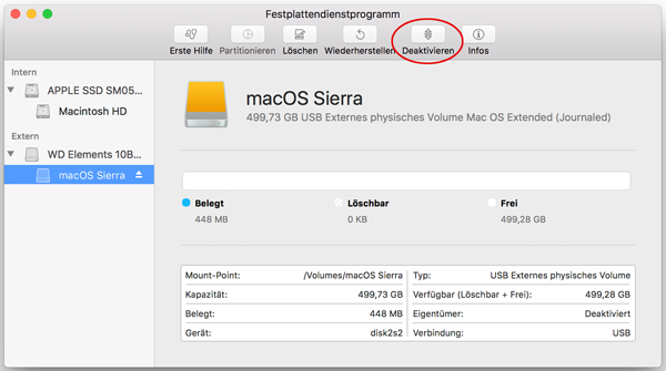 Screenshot Festplatte Deaktivieren
