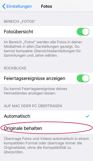 Screenshot iOS 11 Fotos Transfersettings