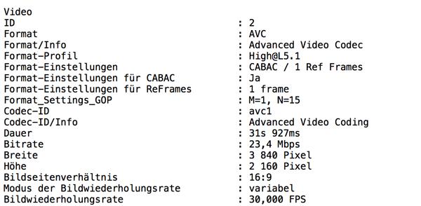 Videoparameter konvertiertes H.264-File aus iPhone 8