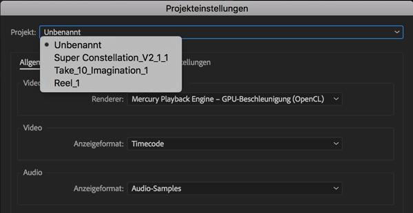 Screenshot Projekteinstellungen mehrere Projekte