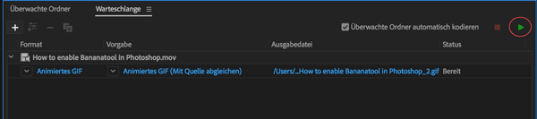 Screenshot Adobe Media Encoder Encoding starten