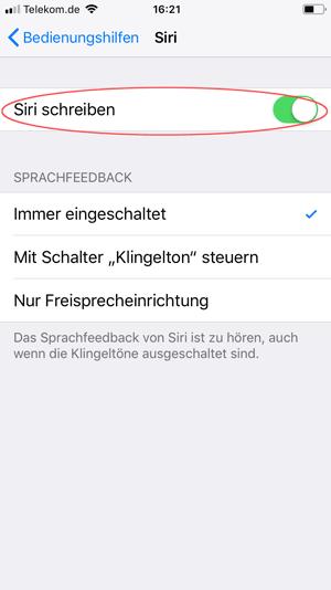 Screenshot iPhone Siri schreiben