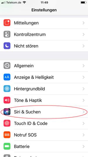 Screenshot iPhone Siri und Suchen
