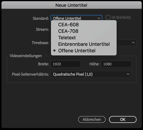 Screenshot Neue Untertitel