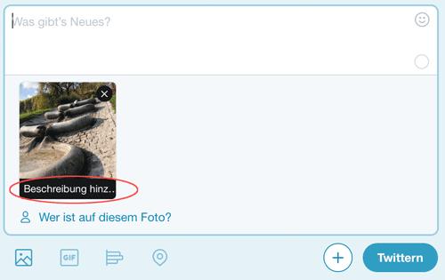 Screenshot Twitter Beschreibung hinzufügen