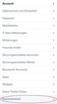 Screenshot Twitter Menü Barrierefreiheit