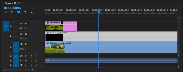 Premiere-Sequenz mit Referenz-Bild