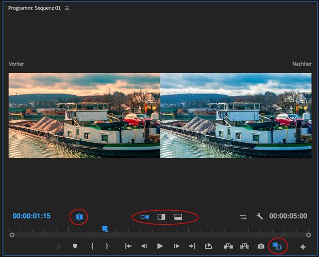 Adobe Premiere Vorher Nachher Ansicht