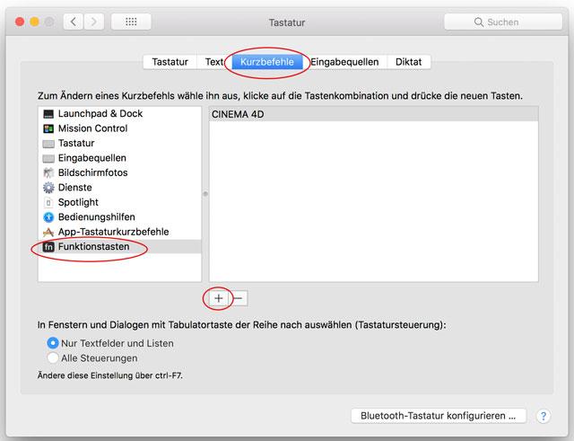 Screenshot macOS Systemsteuerung Tastatur Kurzbefehle