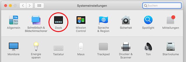 macOS Systemeinstellungen Dock