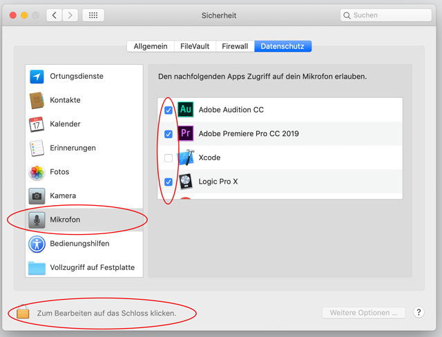 Screenshot Apple Systemeinstellungen Mikrofon