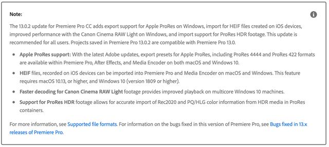 Screenshot Adobe Premiere Website