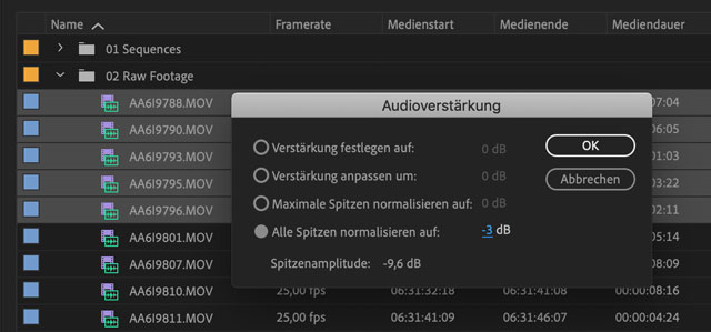 Screenshot Mehrere Clips in Premiere normalisieren