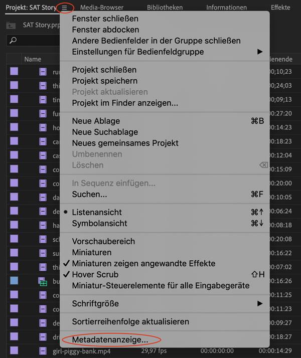Hamburger_Menü Premiere Projektpanel