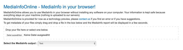 Screenshot MediaInfo Online