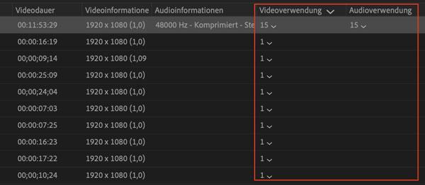 Premiere Videoverwendung und Audioverwendung