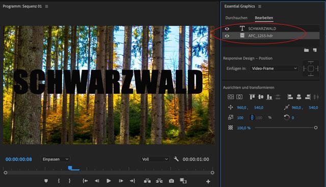 Ebenen sortieren im Essential Graphics Panel von Adobe Premiere