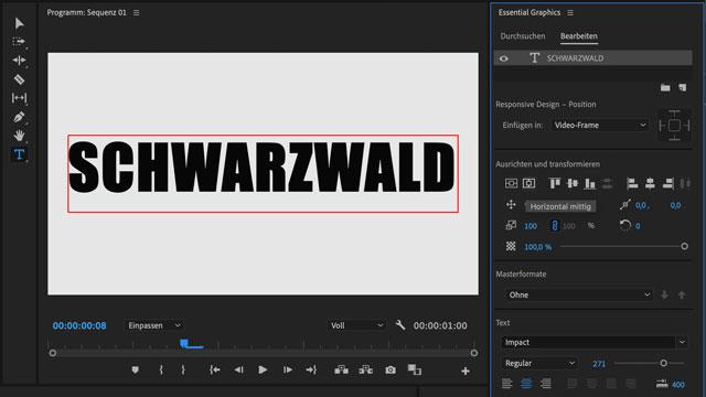 Text-Werkzeug im Essential Graphics Panel von Adobe Premiere Pro CC