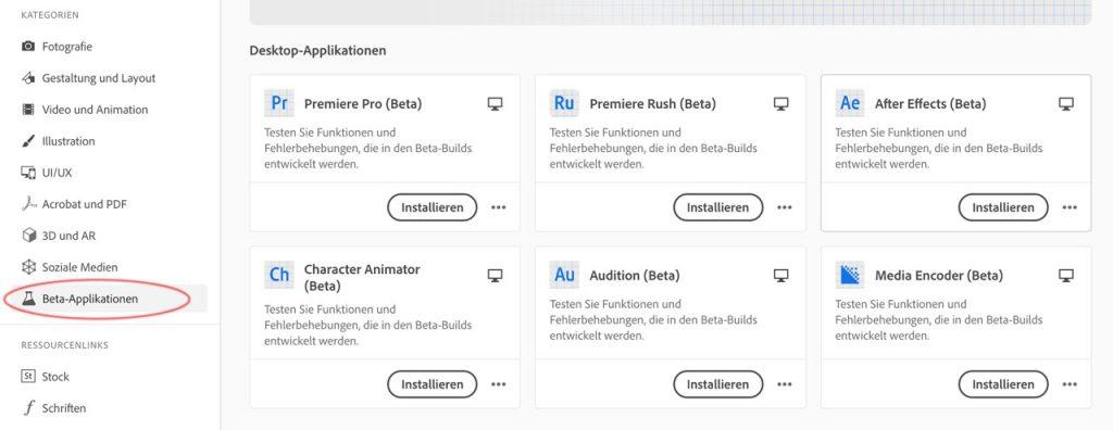 Installation der Adobe Beta-Versionen