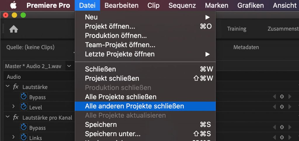 Premiere Alle anderen Projekte schließen - Screenshot